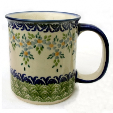 Polish Pottery, straight mug, (l) handle, Pattern Barbara