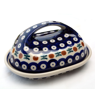 Polish Pottery butter dish large handle garland design - 2.Wahl