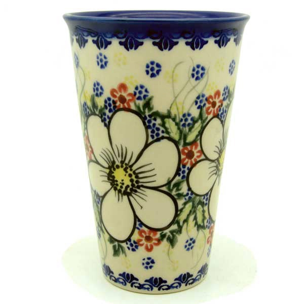 Polish Pottery Aroma Candle Vanilla and Cinnamon, white flower