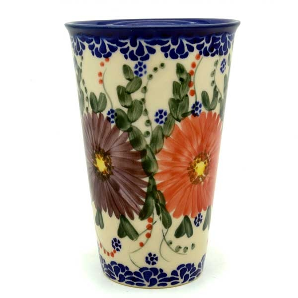 Polish Pottery Aroma Candle, purple and red flowers pattern