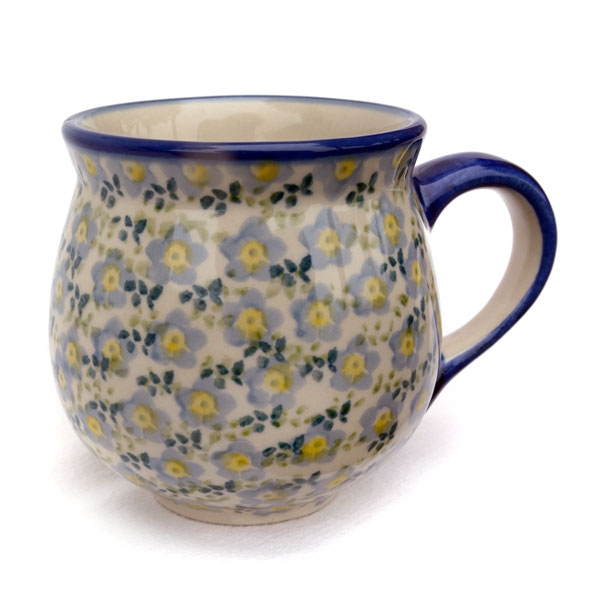 Polish-Pottery-belly-mug-medium-violet-light-blue