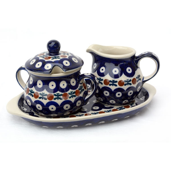 Polish Pottery sugar and creamer set garland design