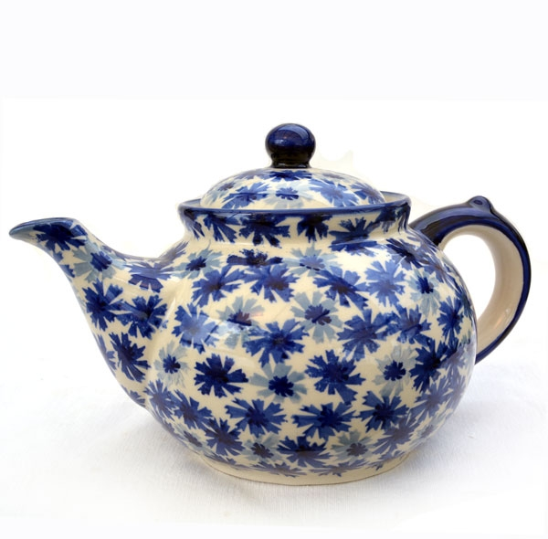 Polish Pottery Teapot 6 cups cornflower design