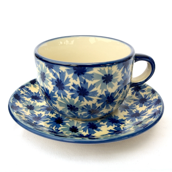 Polish Pottery cup and saucer cornflower pattern