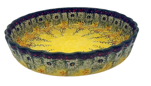 Bunzlauer Quiche-Form 23 cm-F-048, Dekor Goldregen