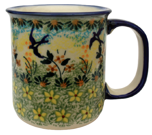 Polish Pottery, straight mug for 220 ml, large handle, swallow design