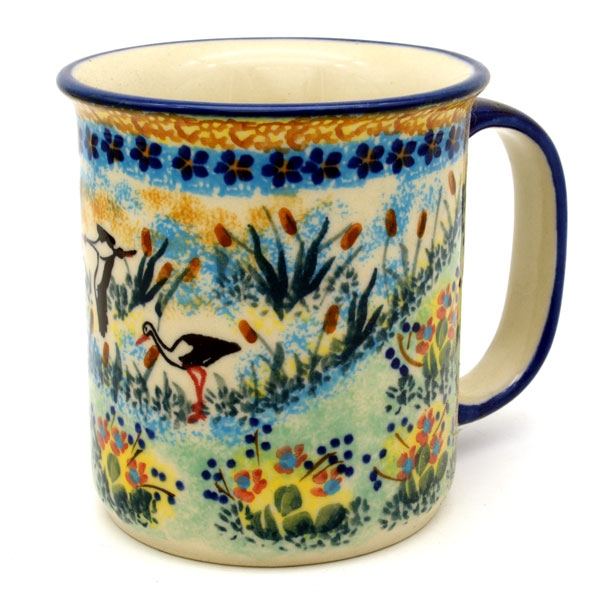 Polish Pottery, straight mug for 220 ml, large handle, Storch design
