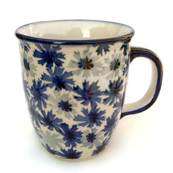 "Polish Pottery mug ""Mars"" cornflower design"