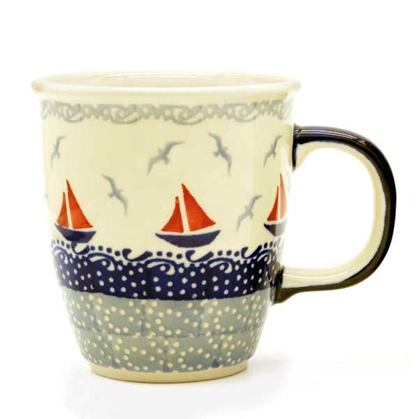 "Polish Pottery ""Mars"" Mug Pattern Sail"