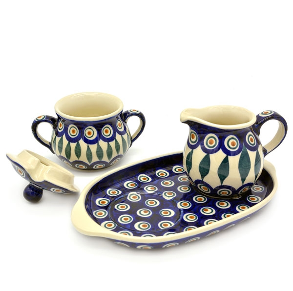 Polish Pottery Sugar & Creamer Set 3 piece in Eye of Peacock Pattern