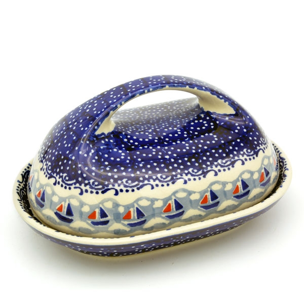 Polish Pottery Butterdish with large handle in Pattern Ahoi