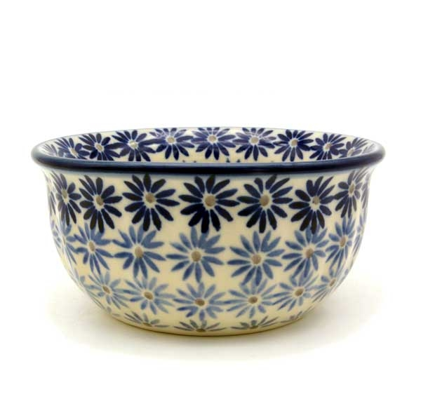 Polish Pottery Bowl Rippled in Aster Pattern