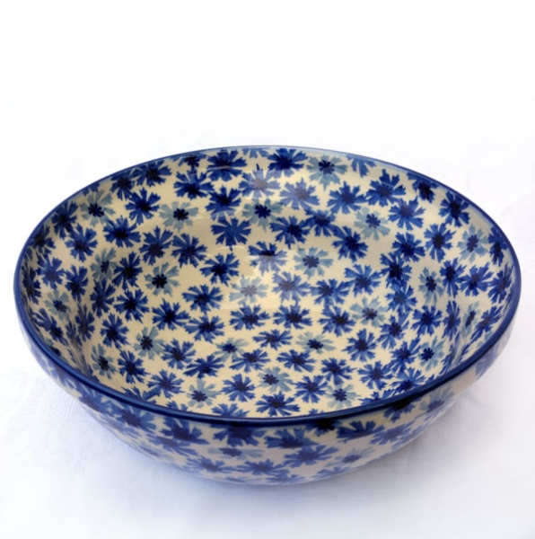 Polish Pottery Salad Bowl cornflower design