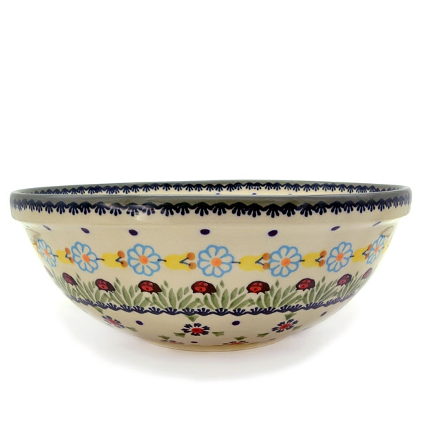 Polish Pottery Salad Bowl Marienkäfer design