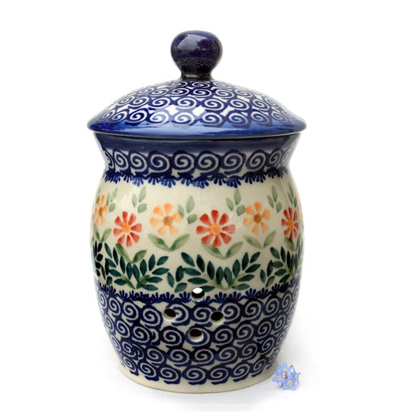 Polish Pottery garlic jar with lid