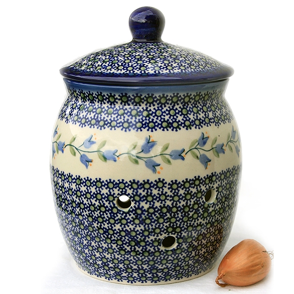 Polish-Pottery-Onion-Jar-harebell-design