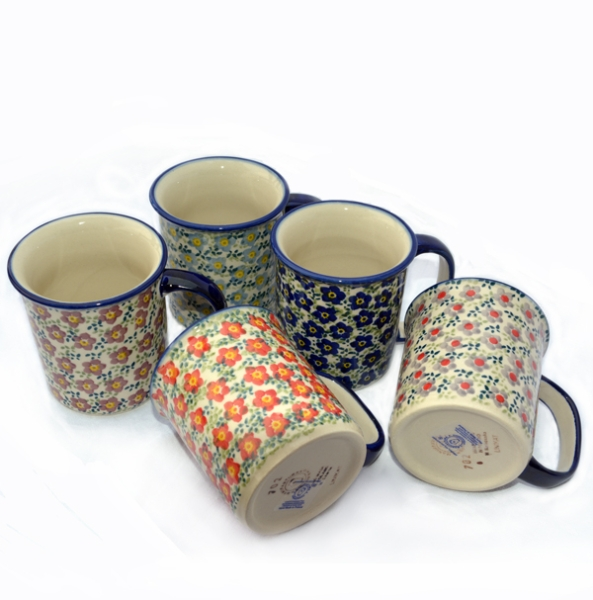 Polish Pottery set of 5 straight mugs, Viola series, 5 different colours