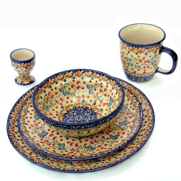 Polish Pottery set of 5 different articles, Florac pattern
