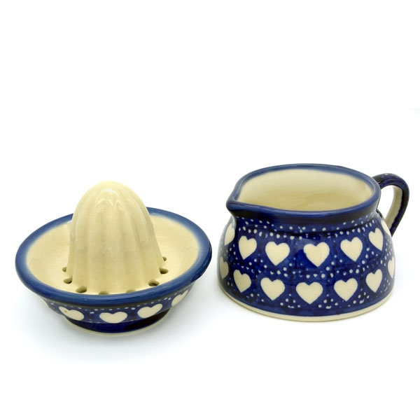 Polish Pottery lemon squeezer love hearts pattern