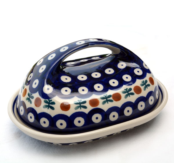 Polish Pottery butter dish large handle garland design