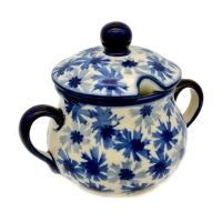 Polish Pottery sugar jar Kornblumen design