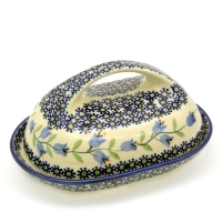 Polish Pottery Butterdish with large handle in Pattern Agnes