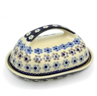 Polish Pottery butter dish large handle Leonie design