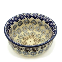 Polish Pottery Rippled Bowl in Aster Pattern