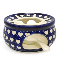 Polish Pottery warmer with tealight holder in Agnes Pattern