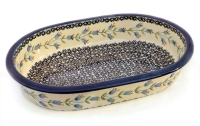 Polish Pottery baking dish oval 32 cms, harebell design