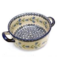 Polish Pottery soup dish with 2 handles harebell design