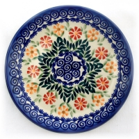 Polish-Pottery-dessert-plate-with-small-imperfections-marguerita-design